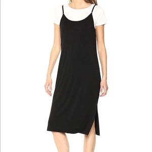 Strap sleeveless knit dress with tee underneath